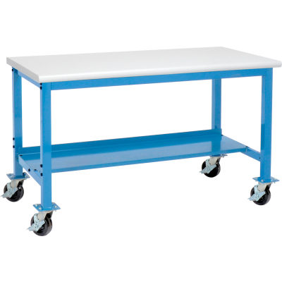 """Global Industrial™ 72""""W x 36""""D Mobile Lab Workbench - Plastic Laminate Safety Edge - Blue"""