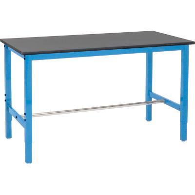 "Global Industrial™ 60""W x 30""D Lab Workbench Adjustable Height - Phenolic Safety Edge - Blue"