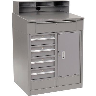 Global Industrial™ Cabinet Shop Desk - 5 Drawers & Pigeonhole Riser 34-1/2 x 30 x 51-1/2 - Gray