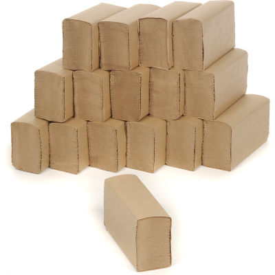 """Multifold Paper Towels 9"""" x 9"""", Brown 250 Towels/Pack, 16/Case - BWK6202"""