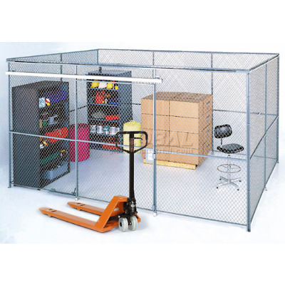 Global Industrial™ Wire Mesh Partition Security Room 20x10x10 with Roof - 3 Sides