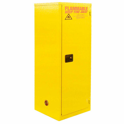 "Global Industrial™ Slim Flammable Cabinet, Manual Close Single Door 24 Gallon- 23""Wx18""Dx65""H"