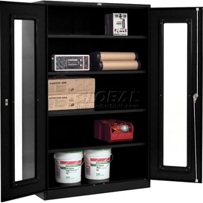 Global Industrial™ Clear View Storage Cabinet Easy Assembly 48x24x78 - Black