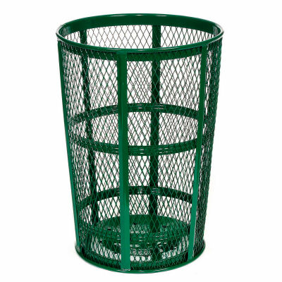 Global Industrial™ Outdoor Steel Mesh Corrosion Resistant Trash Can, 48 Gallon, Green