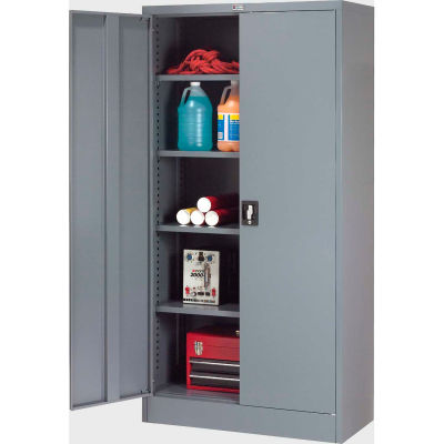 "Global Industrial™ Steel Storage Cabinet Recessed Handle 36""W x 18""D x 72""H Gry Easy Assembly"