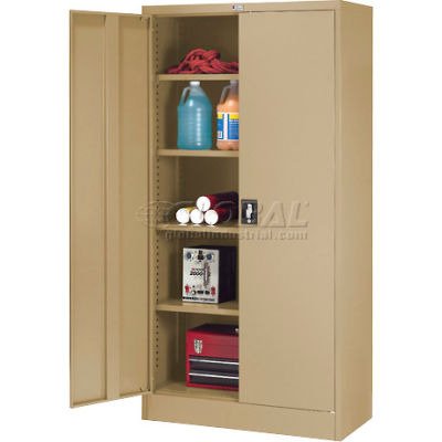 """Global Industrial™ Steel Storage Cabinet Recessed Handle 36""""W x 18""""D x 72""""H Tan Easy Assembly"""