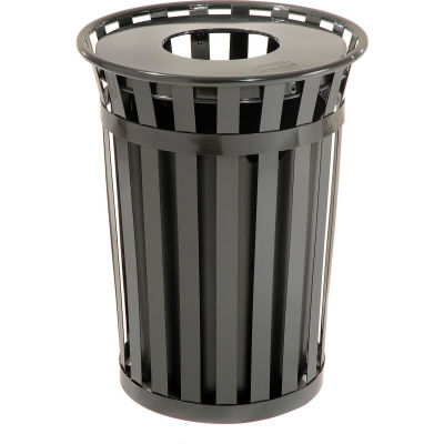 Global Industrial™ Outdoor Steel Slatted Recycling Can With Flat Lid, 36 Gallon, Black