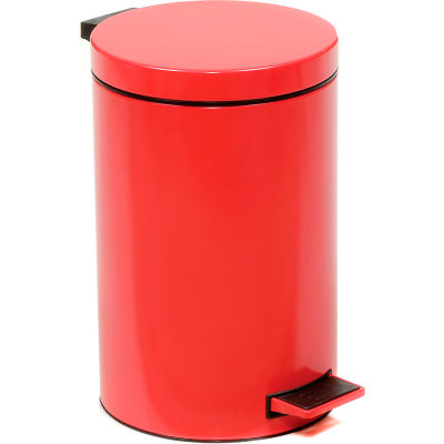 Global Industrial™ 3-1/2 Gallon Step On Trash Can - Red