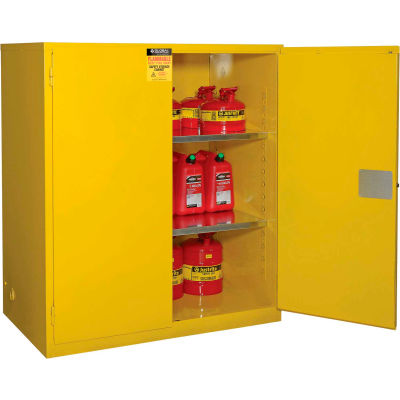 """Global Industrial™ Flammable Cabinet, 120 Gallon Manual Close Double Door, 59""""W x 35""""D x 65""""H"""
