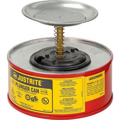 Justrite Safety Plunger Can - 1 Quart Steel, 1010-8