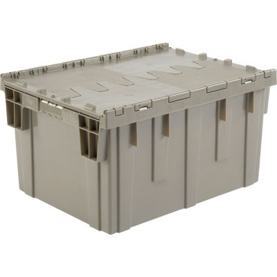 Plastic Storage Container - Attached Lid DC2820-15 28-1/8 x 20-3/4 x 15-5/8 Gray