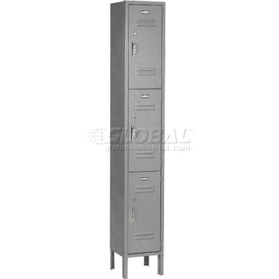 Paramount® Locker 3 Tier 12 X 15 X 24 3 Door Ready To Assemble Gray
