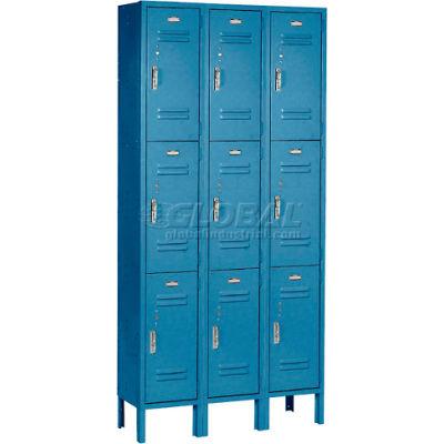 """Global Industrial™ Paramount® Triple Tier 9 Door Locker, 12""""Wx15""""Dx24""""H, Blue, Unassembled"""