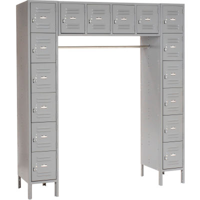 """Global Industrial™ Infinity® 16 Person Locker, 12""""Wx18""""Dx12""""H, Gray, Partially Assembled"""