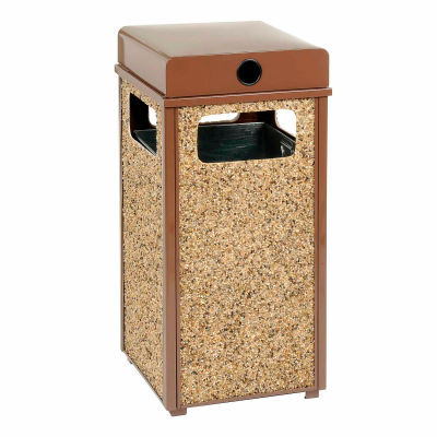 "Global Industrial™ Stone Panel Trash Weather Urn, Brown 24 Gallon, 17-1/2"" Square X 36""H"
