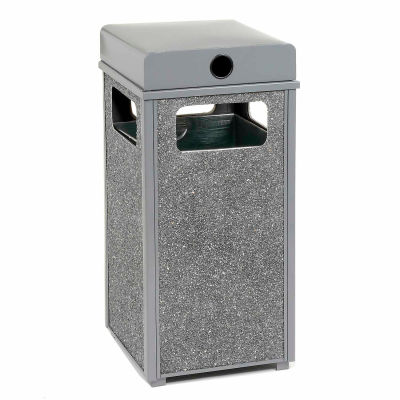 """Global Industrial™ Stone Panel Trash Weather Urn, Gray 12 Gallon, 13-1/2"""" Square X 35""""H"""