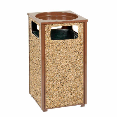 "Global Industrial™ Stone Panel Trash Sand Urn, Brown 12 Gallon, 13-1/2"" Square X 32""H"