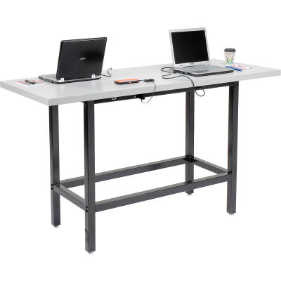 """Interion® Standing Height Table with Power - 72""""L x 30""""W x 42""""H - Laminate - Gray"""