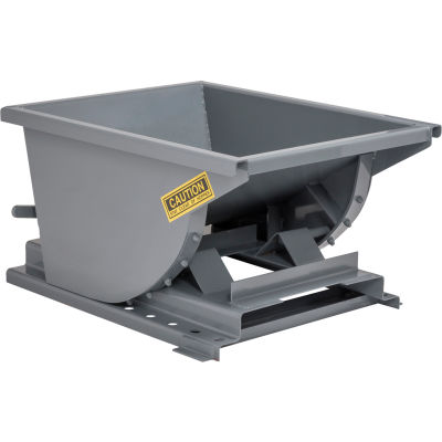 Wright™ 20099 2 Cu Yd Gray HD Self Dumping Forklift Hopper with Heavy Gauge Base