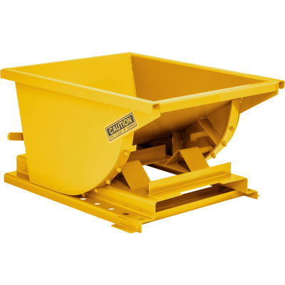 Wright™ 7599 3/4 Cu Yd Yellow HD Self Dumping Forklift Hopper with Heavy Gauge Base