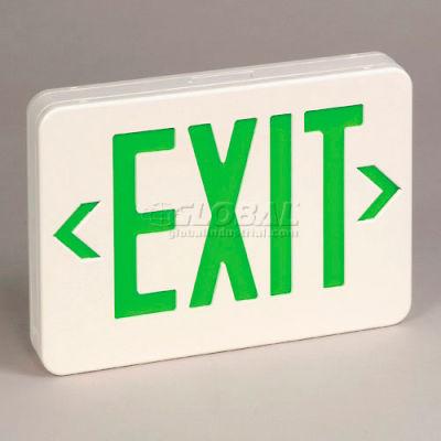 TCPI 22745 Exit Sign Green Led Universal Battery Backup White Housing
