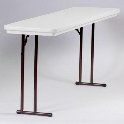 Correll Folding Seminar Table - Plastic - 18 x 72 - Gray Granite