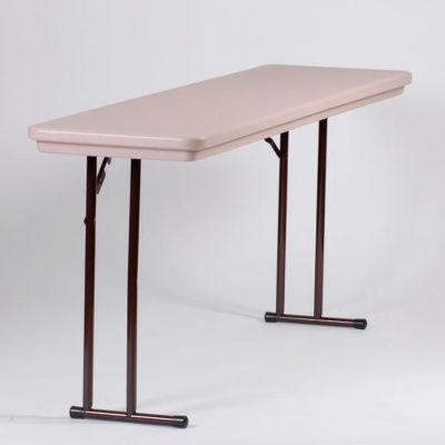 Correll Folding Seminar Table - Plastic - 18 x 72 - Mocha Granite