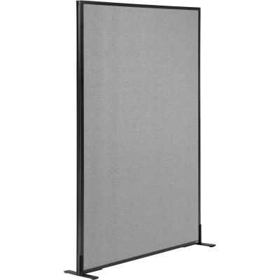"Interion® Freestanding Office Partition Panel, 36-1/4""W x 60""H, Gray"