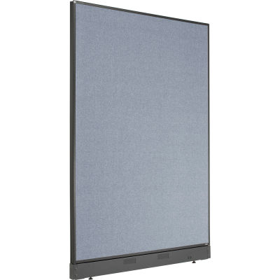 "Interion® Non-Electric Office Partition Panel with Raceway, 48-1/4""W x 64""H, Blue"