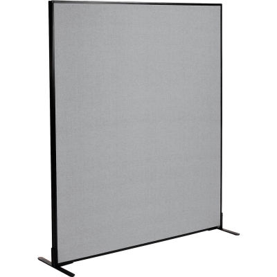 """Interion® Freestanding Office Partition Panel, 60-1/4""""W x 72""""H, Gray"""