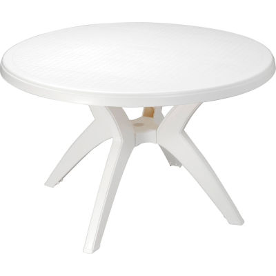 "Grosfillex® Ibiza 46"" Outdoor Round Resin Table With Umbrella Hole, White"