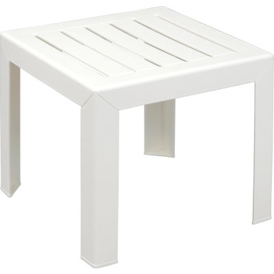 Grosfillex® Outdoor End Table With Wood Slat Pattern - White