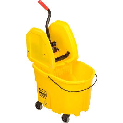 Rubbermaid WaveBrake® 2.0 Mop Bucket & Wringer Combo w/Down Press, 35 Qt. FG757788YEL