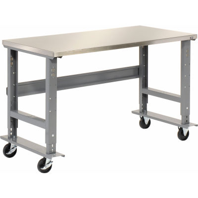Global Industrial™ 72x30 Mobile Adjustable Height C-Channel Leg Workbench - Stainless Steel