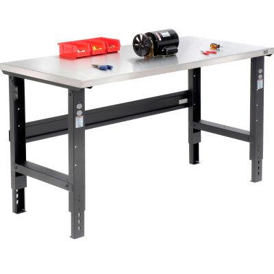 Global Industrial™ 60x30 Adj. Height Workbench C-Channel Leg, Stainless Steel Square Edge Black