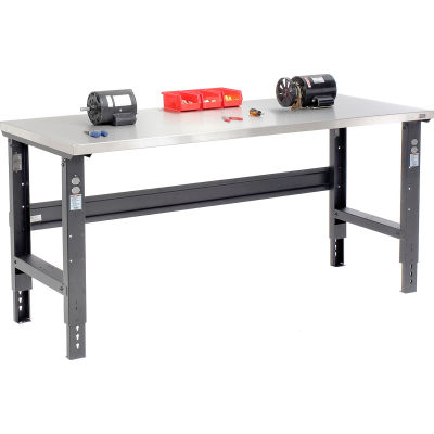 Global Industrial™ 72x30 Adj. Height Workbench C-Channel Leg, Stainless Steel Square Edge Black
