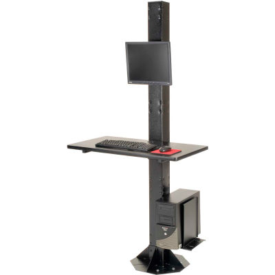 "Global Industrial™ 81""H Stationary Floor Mount Orbit Computer Station with VESA Mount, Black"