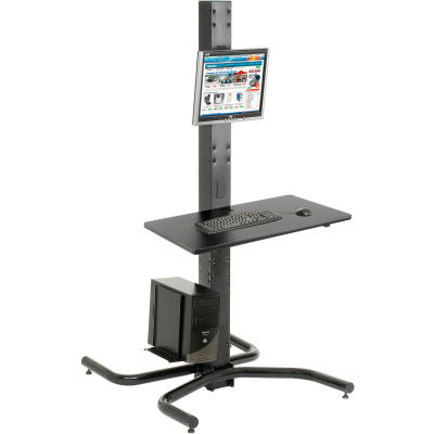 """Global Industrial™ 81""""H Freestanding Orbit Computer Station with VESA Mount and Power Outlets"""