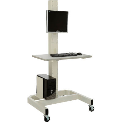 Global Industrial™ Orbit Mobile Computer Cart with VESA Mount and Power Outlets, Beige