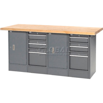 """Global Industrial™ Workbench w/ Maple Square Edge Top, 6 Drawers & 2 Cabinets, 72""""Wx30""""D, Gray"""