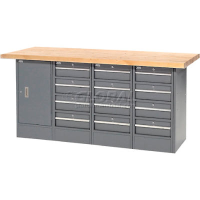 """Global Industrial™ 72""""W x 30""""D Maple Top 12 Drawer/1 Cabinet Workbench"""