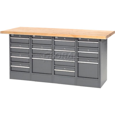 """Global Industrial™ Workbench w/ Maple Square Edge Top & 14 Drawers, 72""""W x 30""""D, Gray"""