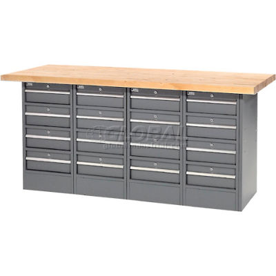"""Global Industrial™ 72""""W x 30""""D Maple Top 16 Drawer Workbench"""