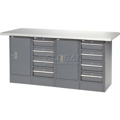"""Global Industrial™ 72""""W x 30""""D Plastic Top 8 Drawer/2 Cabinet Workbench"""