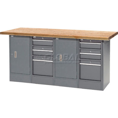 """Global Industrial™ 72""""W x 30""""D Shop Top 6 Drawer/2 Cabinet Workbench"""