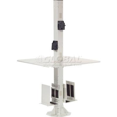 """Global Industrial™ 81""""H Complete Floor Mount Orbit Computer Kiosk with VESA Mounts, Beige"""