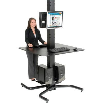 "Global Industrial™ 81""H Complete Freestanding Orbit Computer Kiosk with VESA Mounts, Black"