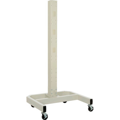 "Global Industrial™ 78""H Mobile Post with Caster Base & Power Outlets - Beige"