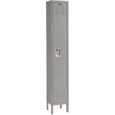 """Hallowell Single Tier 1 Door Premium Steel Locker, 18""""Wx18""""Dx72""""H, Dark Gray, Assembled"""