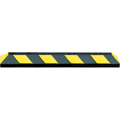 """72"""" Rubber Parking Curb, Black with Yellow Stripes"""